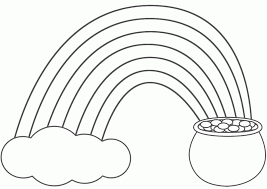 Rainbow And Pot Of Gold Coloring Pages For Kids