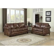 Sterling Cognac Brown Italian Leather Sofa And Loveseat