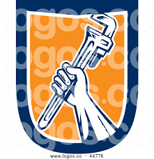 Logo Of A Retro Hand Holding Spanner Wrench Tool