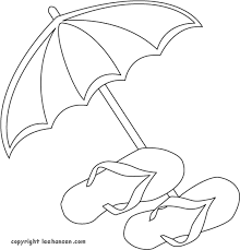 Beach Umbrella And Flip Flops Coloring Page A Free Summer Picture To Color