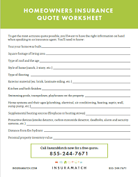 Homeowners Insurance Quote Worksheet