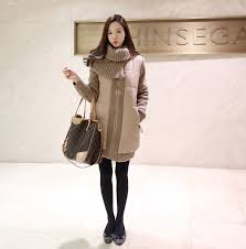 Korea Winter Hot Coats Solid Color MD Long Zipper Up Khaki Street Style