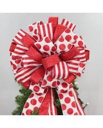 Red Dot Stripe Glitter Christmas Tree Bow Topper