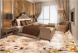 moderne 3d bodenbelag wallpaper golden blumen kundenspezifische 3d boden malerei schlafzimmer tapete boden vinyl klebstoff