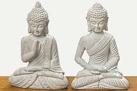 buddha figur aus beton 2er set ommmm richtig entspannen