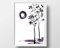Sun And Trees Painting Black White Sumi E Minimalist Ink Drawing Print Simple Nature Wall