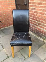 Faux Leather Oak Dining Chairs X4