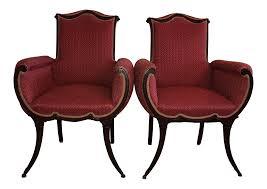 100 Regency House Furniture Grosfeld Hollywood Mahogany Saber Leg Fireside Chairs