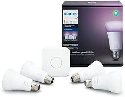 philips hue white and color ambiance a19 60w equivalent led smart bulb starter kit 4 a19 bulbs and 1 hub compatible with apple homekit