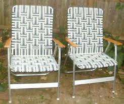 Webbed Lawn Chairs With Wooden Arms by Vintage Aluminum Webbed Folding Lounge Patio Lawn Chair Chaise