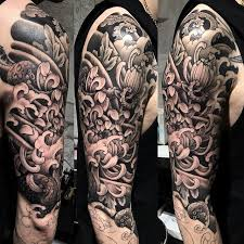 Japanese Sleeve Tattoo In Progress Black And Grey Full