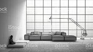unvollendetes projekt der moderne wohnzimmer mit sofa teppich und großes fenster skizzieren sie abstrakte innenarchitektur stockfoto und mehr bilder