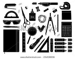 Stationery tools marker paper clip pen binder clip ruler