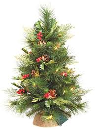 25 Inch Battery Operated LED Artificial Christmas Pine Tree With Cones And Berries