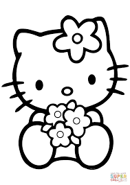 Click The Hello Kitty With Flowers Coloring Pages To View Printable Version Or Color It Online Compatible IPad And Android Tablets