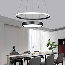 pendelleuchte esszimmer led dimmbar mit fernbedienung esstisch leuchte modern schwarz rund pendelle 2 ring höhenverstellbar kronleuchter wohnzimmer