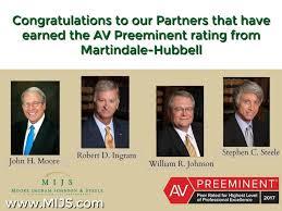 100 J Moore Partners MIS Earned The AV Preeminent Rating From MartindaleHubbell