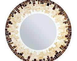 Brown Mosaic Bathroom Mirror by Round Wall Mirror Mosaic Mirror Orange And Black
