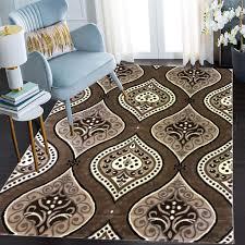 siela kurzflor teppich wohnzimmerteppich braun pflegeleicht rutschfest kuechenlaeufer glitzer look herz muster grösse 120x170 cm