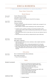 Human Resources Intern Resume Example