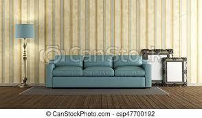 blaues wohnzimmer klassisch ledern sofa blaues