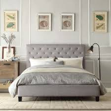 Roma Tufted Wingback Headboard Taupe Fullqueen by Bed Frames Upholstered Bed Frame Queen What Is A Fabric Bed King