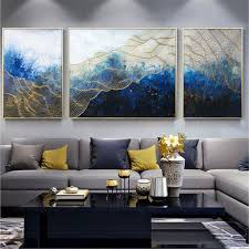 three items authentic acrylic gold summary portray on canvas