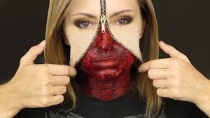 Halloween Half Mask Ideas by Unzipped Zipper Face Makeup Tutorial Youtube
