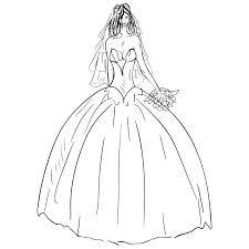 Wedding Dress clipart black and white 9