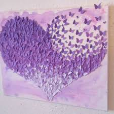 Purple Ombre Heart 3D Butterfly Wall Art Nursery Decor 16x20