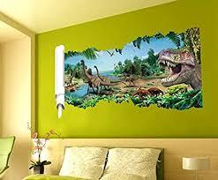 hallobo wandtattoo wandaufkleber 3d dinosaurier jurassic park wandbild wohnzimmer schlafzimmer deko kinderzimmer babyzimmer kinder jungen