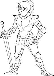 Standing Still Knight Colouring Page