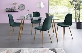 my home essgruppe miller set 5 tlg eckiger glastisch