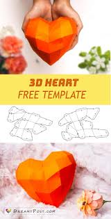 Free Template To Make 3d Heart For Valentines Day Paperheart 3dheart 3dhearttemplate