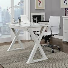 Glass And Metal Corner Computer Desk White by 48