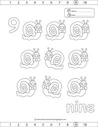 Counting And Numbers Coloring Page Nine Snails