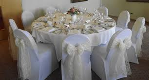 Wedding Chair Sash Buckles by Ivory Lace Sashes Over White Chair Covers Wedding Ideas