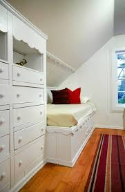 Bed And Dresser Sunk Into Knee Wall