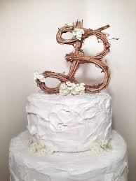Letter B Rustic Grapevine Wedding Cake Topper