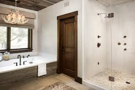 country style bathroom with faux antlers chandelier country