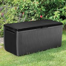 Keter Woodland Storage Box by Springwood Plastic Garden Storage Box Departments Diy At B U0026q