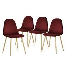 helga lot de 4 chaises bordeaux achat vente chaise
