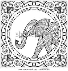 Coloring Page With Elephant In Decorative Mandala Frame Book For Adult And Older Children