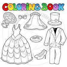 Cartoon Coloring Book Wedding Clothes