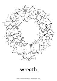 Christmas Wreath Colouring Page