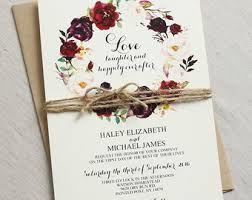Rustic Wedding Invitation Burgundy Bohemian Floral Marsala