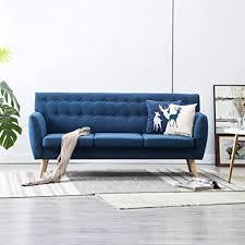 festnight 3 sitzer sofa 3er stoff wohnzimmer stoffsofa polstersofa loungesofa blau stoffbezug mit mdf rahmen 172x70x82 cm