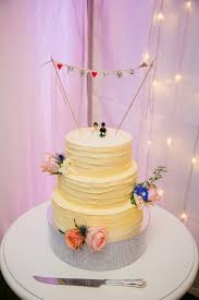 Real Wedding Cake With Cute Bunting Topper