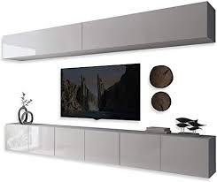 colgante ii wohnwand lowboard wohnwand set tv schrank hängeschrank weiß hochglanz hg fernsehschrank mit led beleuchtung und push to open system