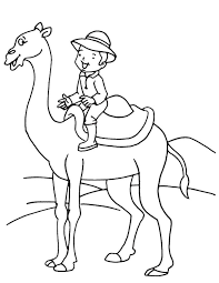 Boy On Camel Coloring Page